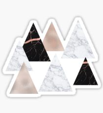 Rose gold marble geo triangles Sticker