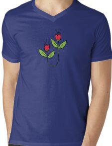 Textured Tulips Mens V-Neck T-Shirt