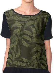 Simply Feathers In Olive Green Women's Chiffon Top