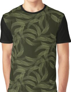 Simply Feathers In Olive Green Graphic T-Shirt