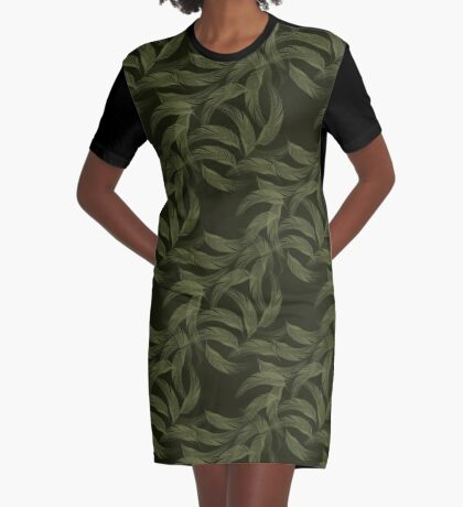 Simply Feathers In Olive Green Graphic T-Shirt Dress