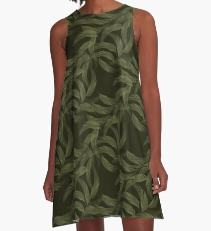 Simply Feathers In Olive Green A-Line Dress