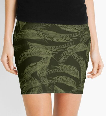 Simply Feathers In Olive Green Mini Skirt