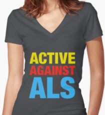 Active Against ALS Women's Fitted V-Neck T-Shirt