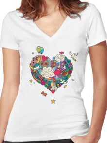 Love Doodle Women's Fitted V-Neck T-Shirt
