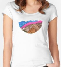 Color Band Mountains Women's Fitted Scoop T-Shirt