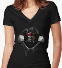 Pirate Flag Women's Fitted V-Neck T-Shirt