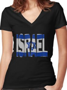Israeli flag Women's Fitted V-Neck T-Shirt