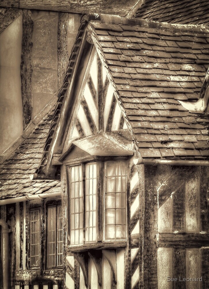Tudor Style House in Sepia by Sue Leonard