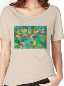 Happy Sloths Jungle  T-shirt femme coupe relax