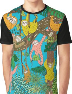 Happy Sloths Jungle  T-shirt Graphique