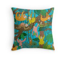 Happy Sloths Jungle  Throw Pillow