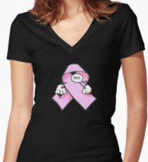 Pink Ribbon BooBees! Women's Fitted V-Neck T-Shirt