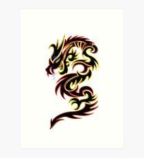 Black Fire Dragon Design Art Print