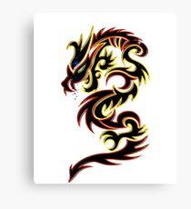 Black Fire Dragon Design Canvas Print