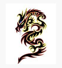 Black Fire Dragon Design Photographic Print