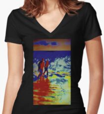 Waves Women's Fitted V-Neck T-Shirt