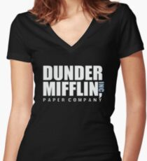 Dunder Mifflin The Office Funny Typography Text Logo Shirts Women's Fitted V-Neck T-Shirt