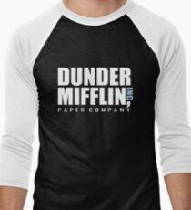 Dunder Mifflin The Office Funny Typography Text Logo Shirts Men's Baseball ¾ T-Shirt
