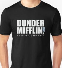 Dunder Mifflin The Office Funny Typography Text Logo Shirts Slim Fit T-Shirt