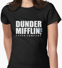 Dunder Mifflin The Office Funny Typography Text Logo Shirts Women's Fitted T-Shirt