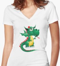 Draco the Keywebco Dragon  Women's Fitted V-Neck T-Shirt