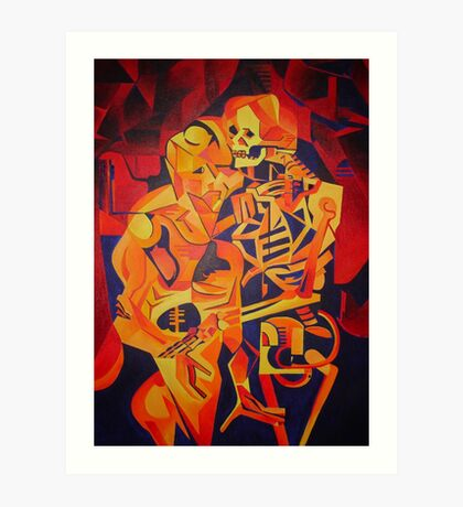 A Skeleton and A Corpse Embracing Death Art Print