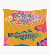 Colorful Abstract Fish Art Drawstring Bag in Yellow and Black  Wall Tapestry