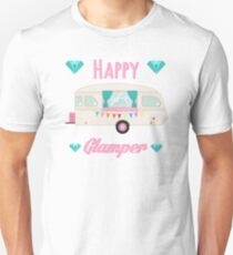 Happy Glamper - Pink Glam Camper Trailer RV Camping  Unisex T-Shirt