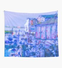 Blue Abstract Whale Art Tote Bag Wall Tapestry