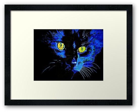 Marley The Cat Portrait With Striking Yellow Eyes by taiche
