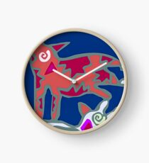 Colorful Abstract Art Throw Pillow in Blue, Pink and Orange Clock