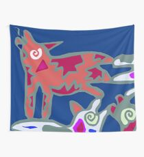 Colorful Abstract Art Throw Pillow in Blue, Pink and Orange Wall Tapestry