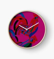 Abstract Rooster Art Throw Pillow in Hot Pink Clock