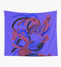 Rooster Abstract Art Blue iPad Cover Wall Tapestry