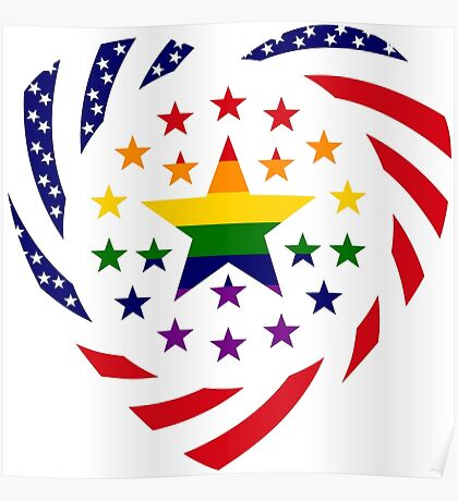Love is Love American Flag 2.0 (Heart) Poster