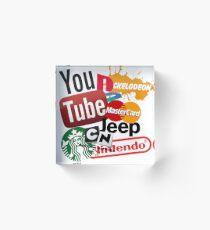 Logo Sticker Mashup Collage  Acrylic Block
