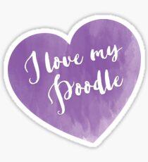 I love my Poodle - purple heart Sticker