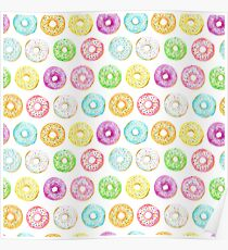 Watercolor donuts sprinkles Pattern Poster