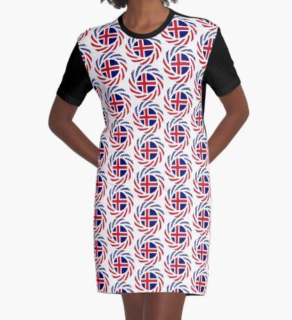 Icelandic American Multinational Patriot Flag Series Graphic T-Shirt Dress