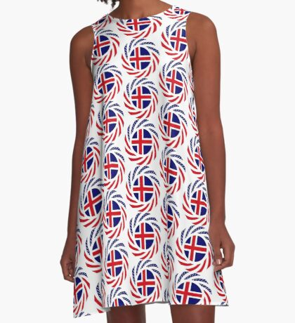 Icelandic American Multinational Patriot Flag Series A-Line Dress