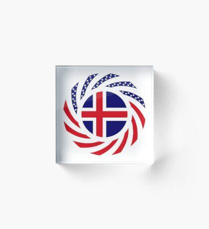 Icelandic American Multinational Patriot Flag Series Acrylic Block