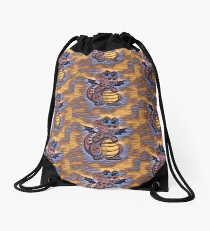 Purples in Pattern Happy Sweet Dragon Drawstring Bag