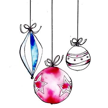 Watercolour and ink baubles  by Ellagreening