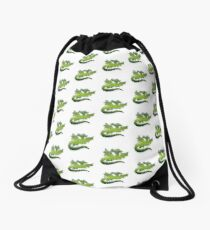 Green flying Dragons Drawstring Bag