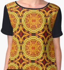 Golden Geometric Mandala Pattern 1 Chiffon Top