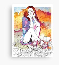 Girl's Diary Collection - Waiting Canvas Print