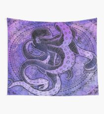 Octopus on Damask - Purple Edition Wall Tapestry