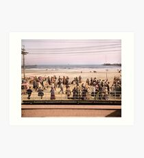 Along the beach, Atlantic City, NJ 1905 Colorized Art Print