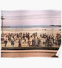 Along the beach, Atlantic City, NJ 1905 Colorized Poster